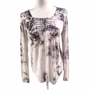 American Eagle White Tie Dye Lace up Long Sleeve